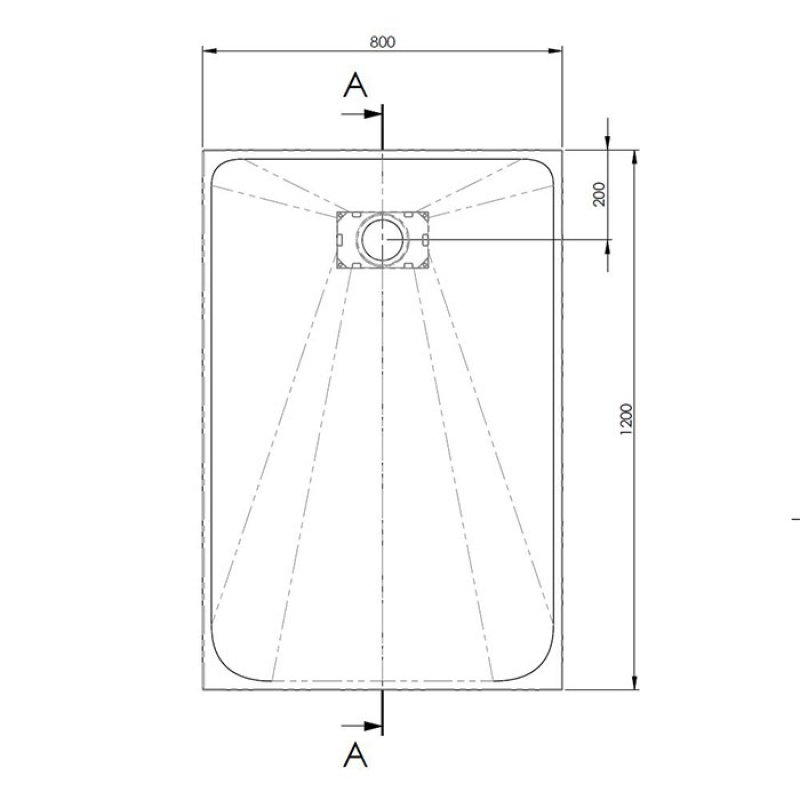 AKW Onyx Rectangular Shower Tray 1200mm x 800mm - Black
