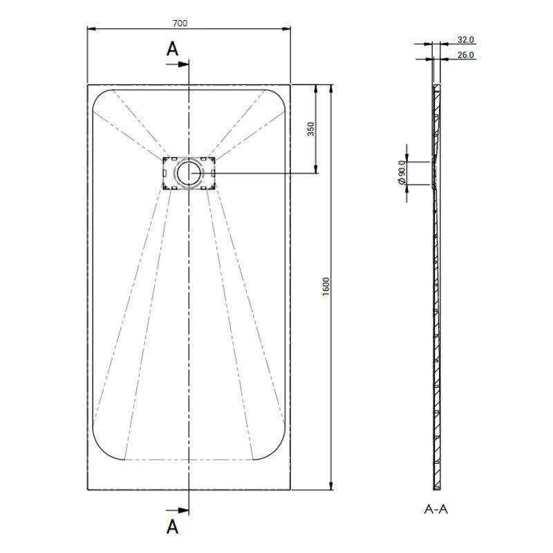 AKW Onyx Rectangular Shower Tray 1600mm x 700mm - White