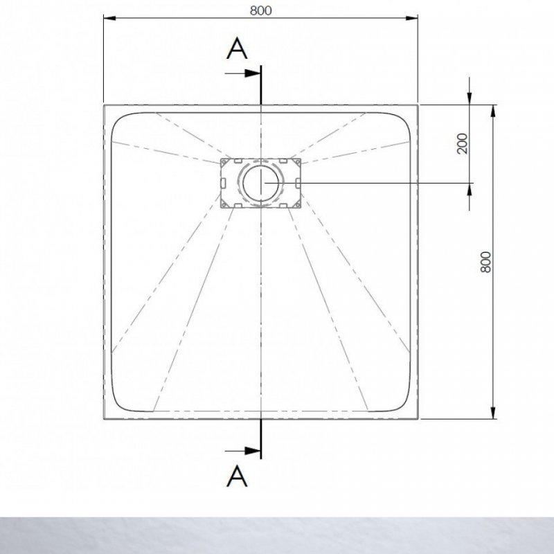 AKW Onyx Square Shower Tray 800mm x 800mm - Grey