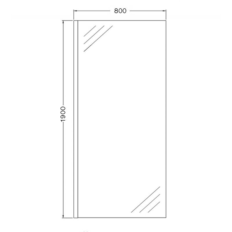 AKW Onyx Black Level Best Wet Room Glass Panel 800mm Wide - 6mm Glass