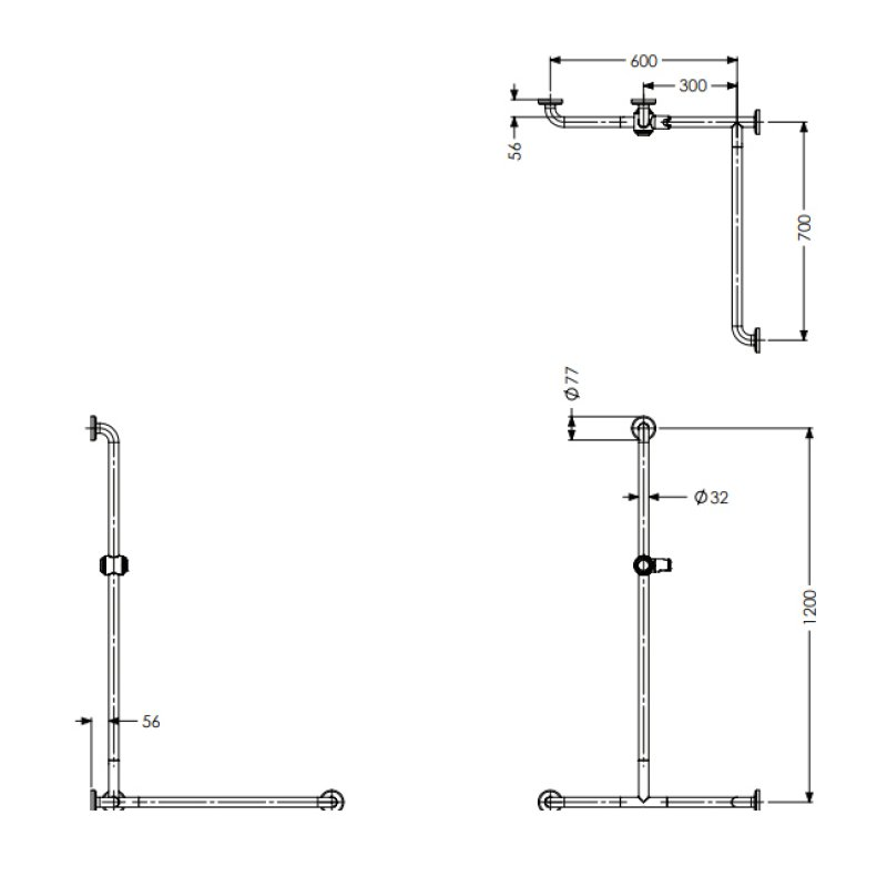 AKW Option 2 Stainless Steel Grab Rail - Polished