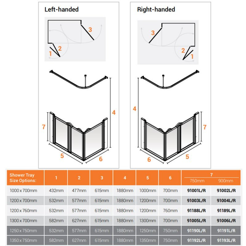 AKW Option A 900 Shower Screen 1000mm x 700mm - Right Handed