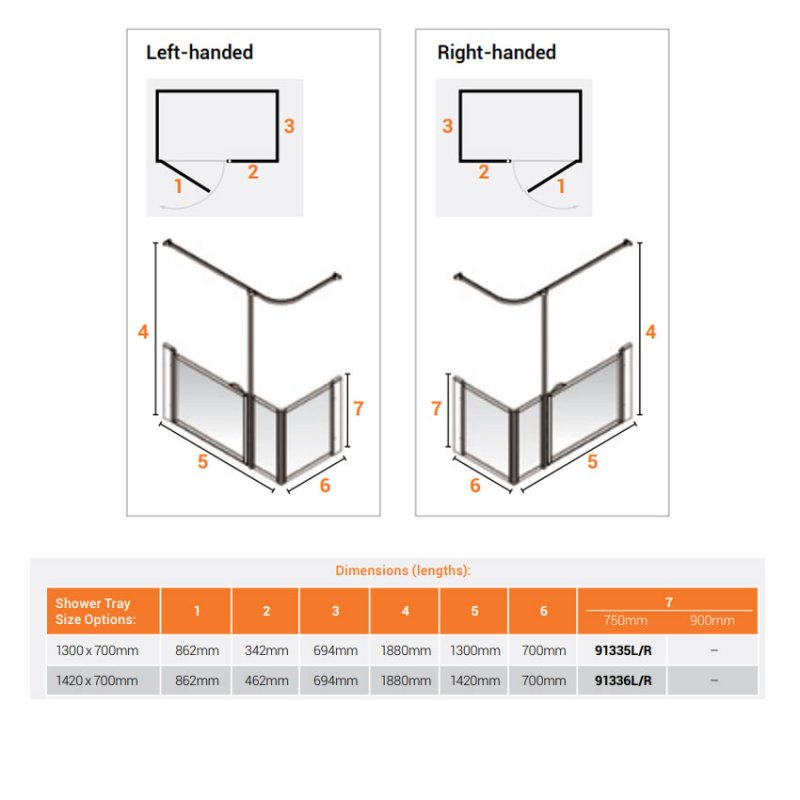 AKW Option Q Shower Screen 1300mm x 700mm - Right Handed