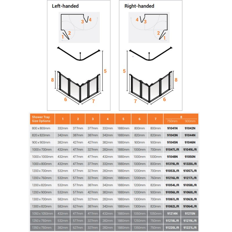 AKW Option E 750 Shower Screen 1050mm x 1050mm - Non Handed