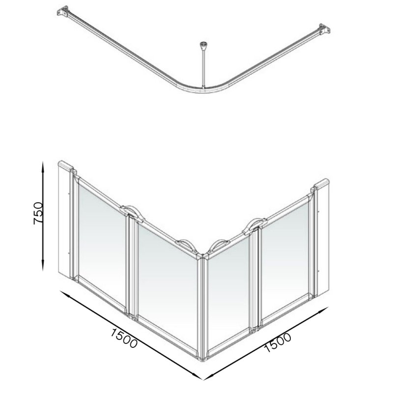 AKW Option EW 750 Wet Floor Screen 1500mm x 1500mm - Non Handed