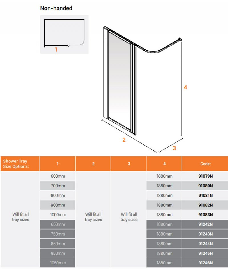 AKW Option HF Shower Screen 600mm Wide - Non Handed