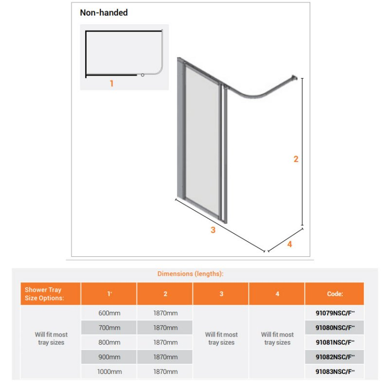 AKW Option HF 1880 Wet Floor Screen 600mm Wide Non Handed - Silverdale Clear