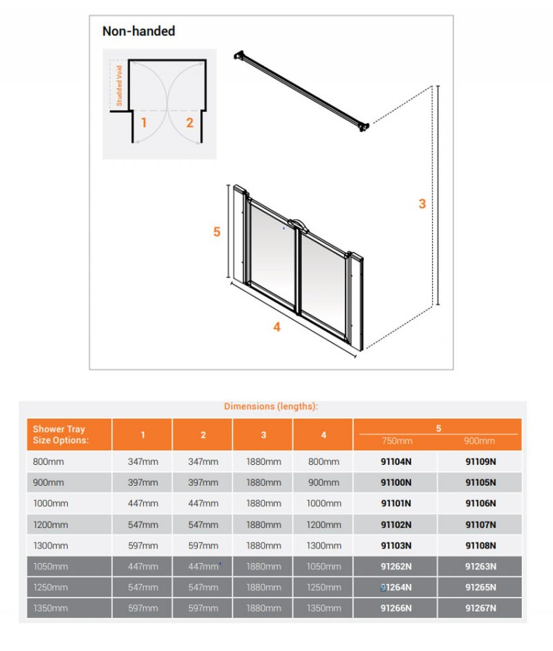 AKW Option M 750 Shower Screen 1050mm Wide - Non Handed