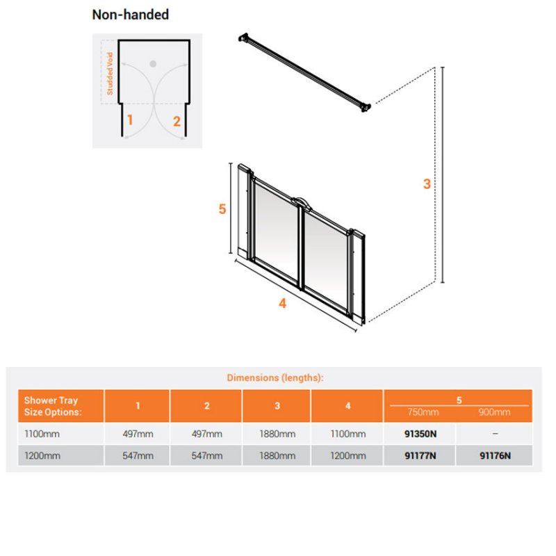 AKW Option MW 750 Wet Floor Screen 1100mm Wide - Non Handed