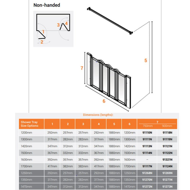AKW Option N 900 Shower Screen 1700mm Wide - Non Handed