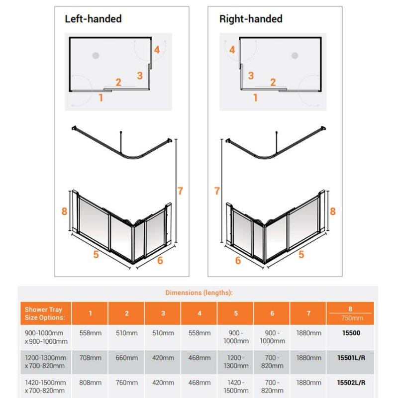 AKW Option SE Sliding Shower Screen 1200-1300mm x 700-820mm - Right Handed