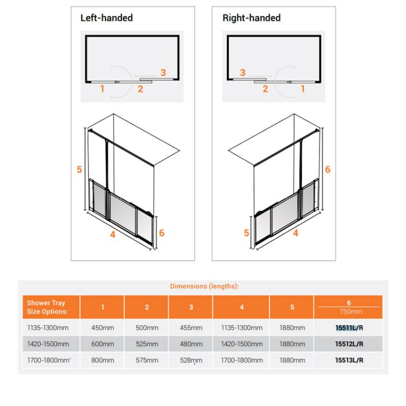AKW Option SU Sliding Shower Screen 1135-1300mm Wide - Right Handed