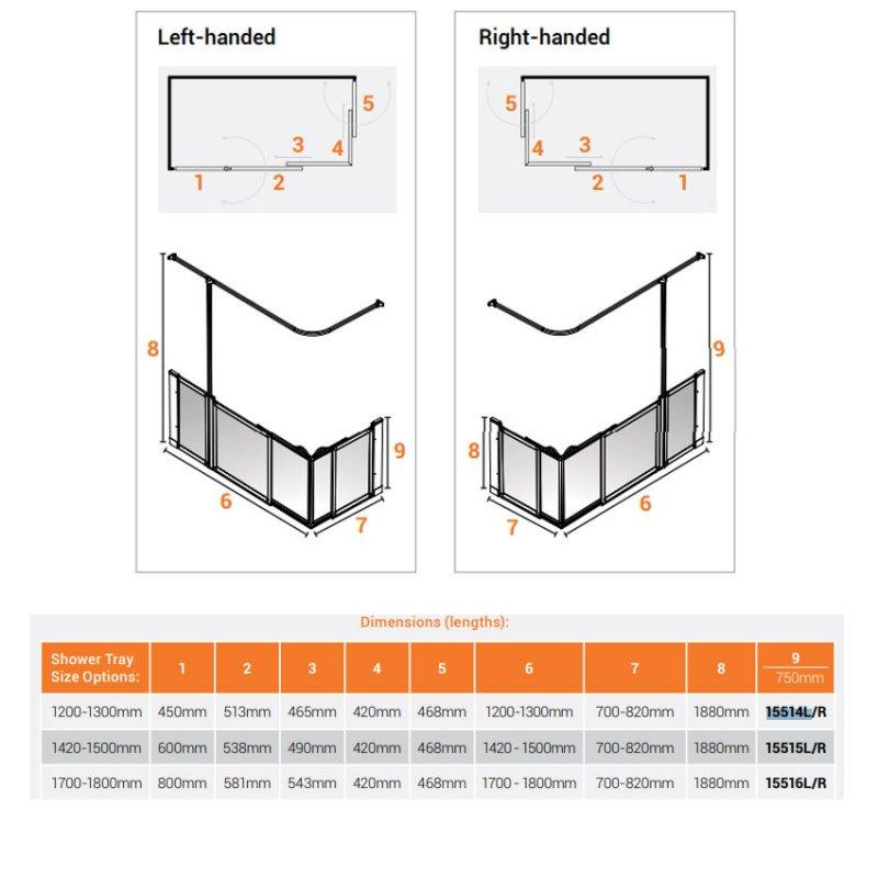 AKW Option SX Sliding Shower Screen 1700-1800mm x 700-820mm - Left Handed
