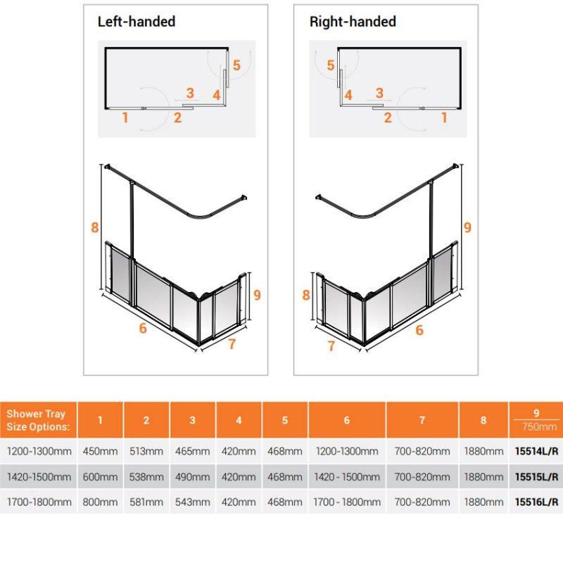 AKW Option SX Sliding Shower Screen 1200-1300mm x 700-820mm - Left Handed