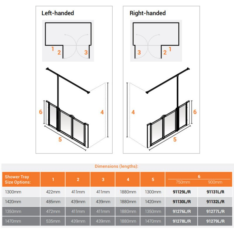 AKW Option U 750 Shower Screen 1420mm Wide - Right Handed