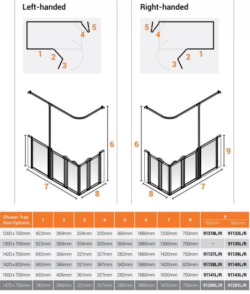 AKW Option X 750 Shower Screen 1200mm x 700mm - Left Handed