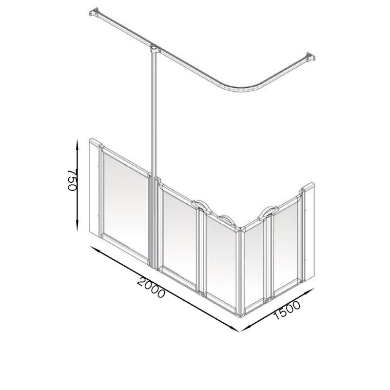 AKW Option X 750 Shower Screen 2000mm x 1500mm - Left Handed