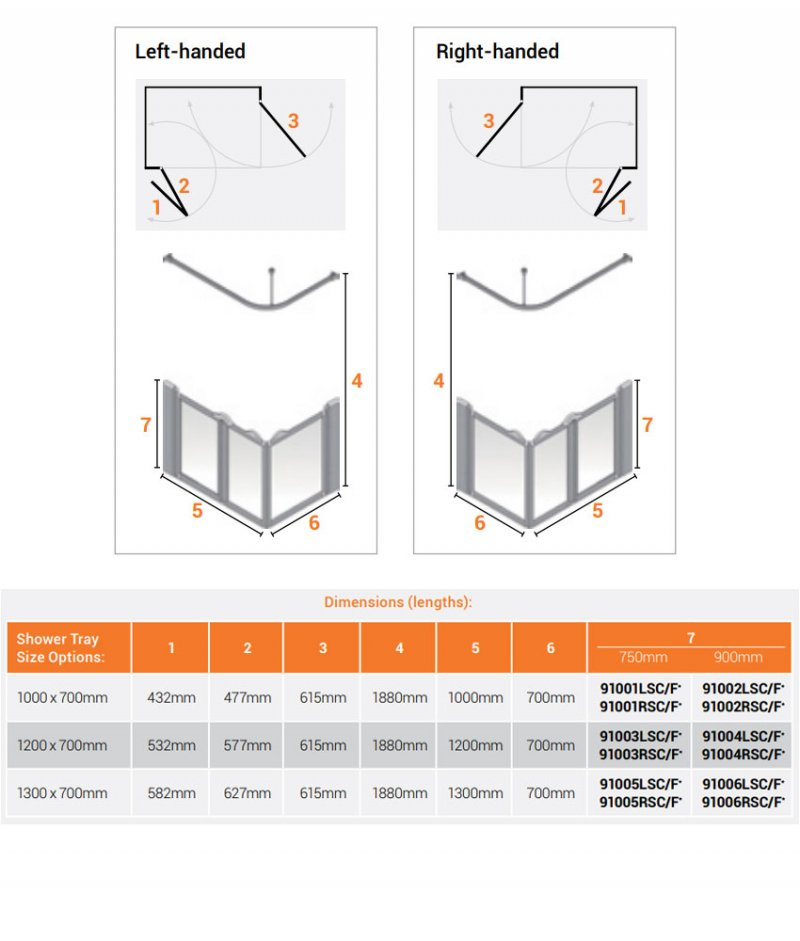 AKW Silverdale Clear Option A 900 Shower Screen 1300mm x 700mm - Left Handed