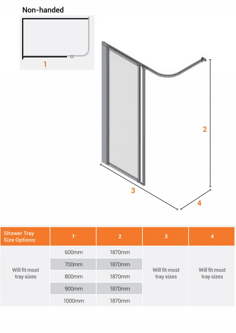 AKW Silverdale Frosted Option HFW Wet Floor Shower Screen 600mm Wide - Non Handed