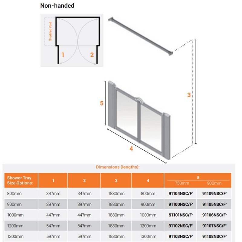 AKW Silverdale Frosted Option M 900 Shower Screen 900mm Wide - Non Handed