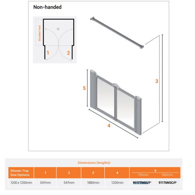 AKW Silverdale Clear Option MW 900 Wet Floor Shower Screen 1200mm Wide - Non Handed