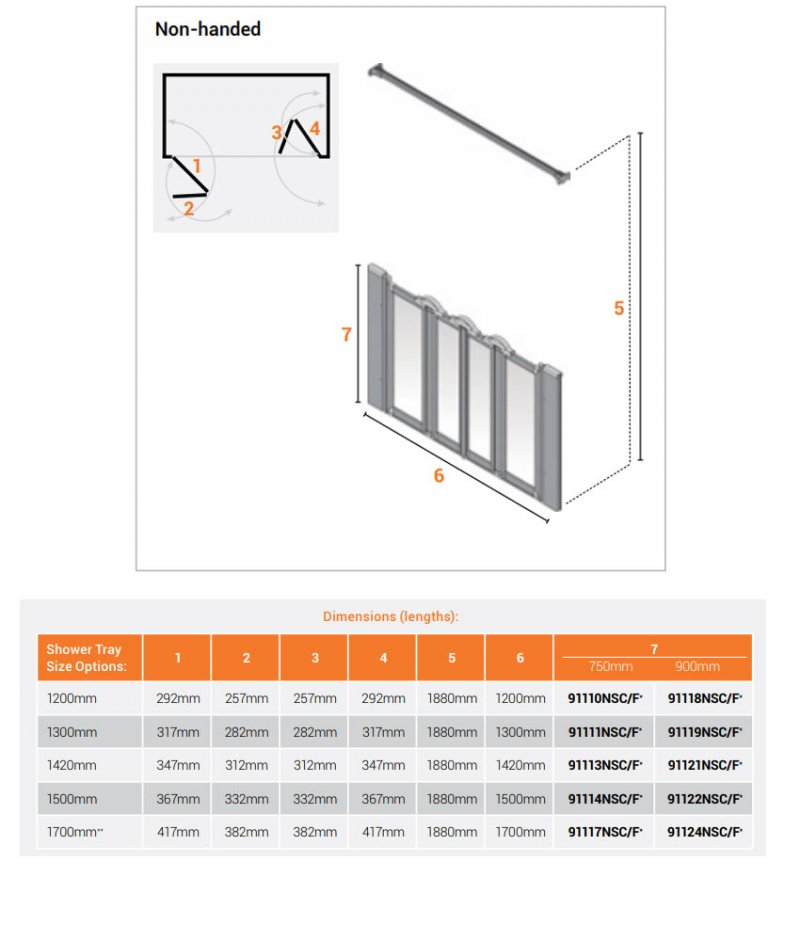 AKW Silverdale Clear Option N 900 Shower Screen 1500mm Wide - Non Handed