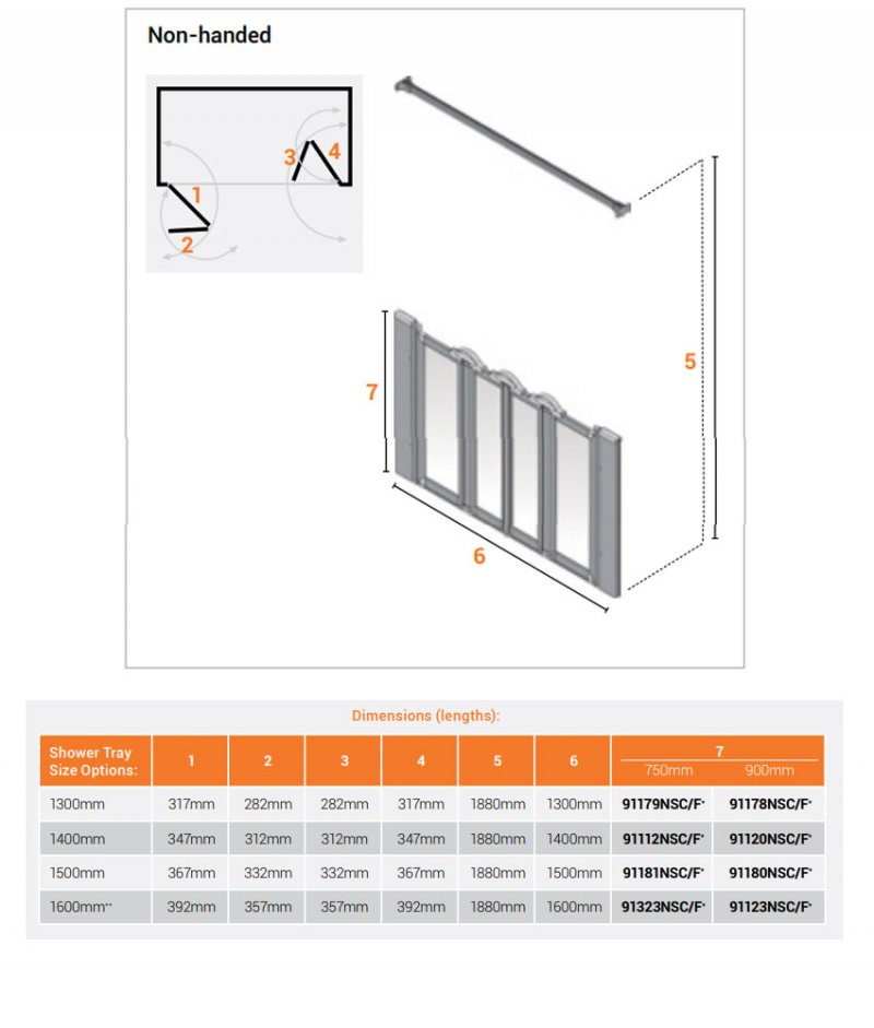 AKW Silverdale Frosted Option NW 750 Wet Floor Shower Screen 1300mm Wide - Non Handed