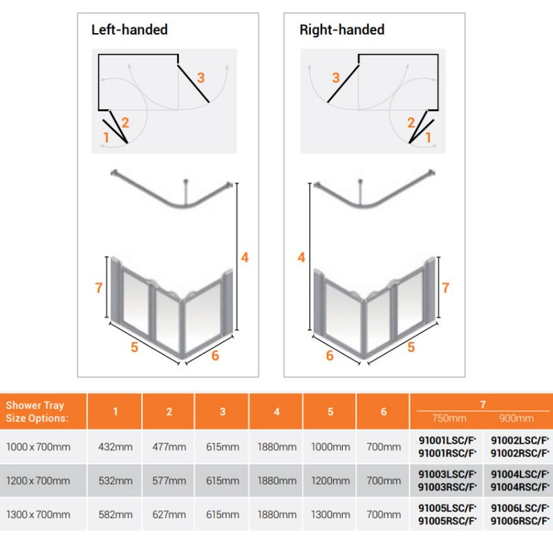 AKW Silverdale Frosted Option A 750 Shower Screen 1200mm x 700mm - Left Handed
