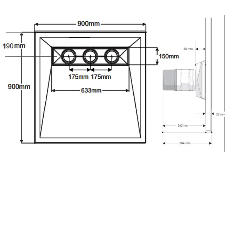 AKW TriForm Linear Wet Room Former, 900mm x 900mm, GRP Composition