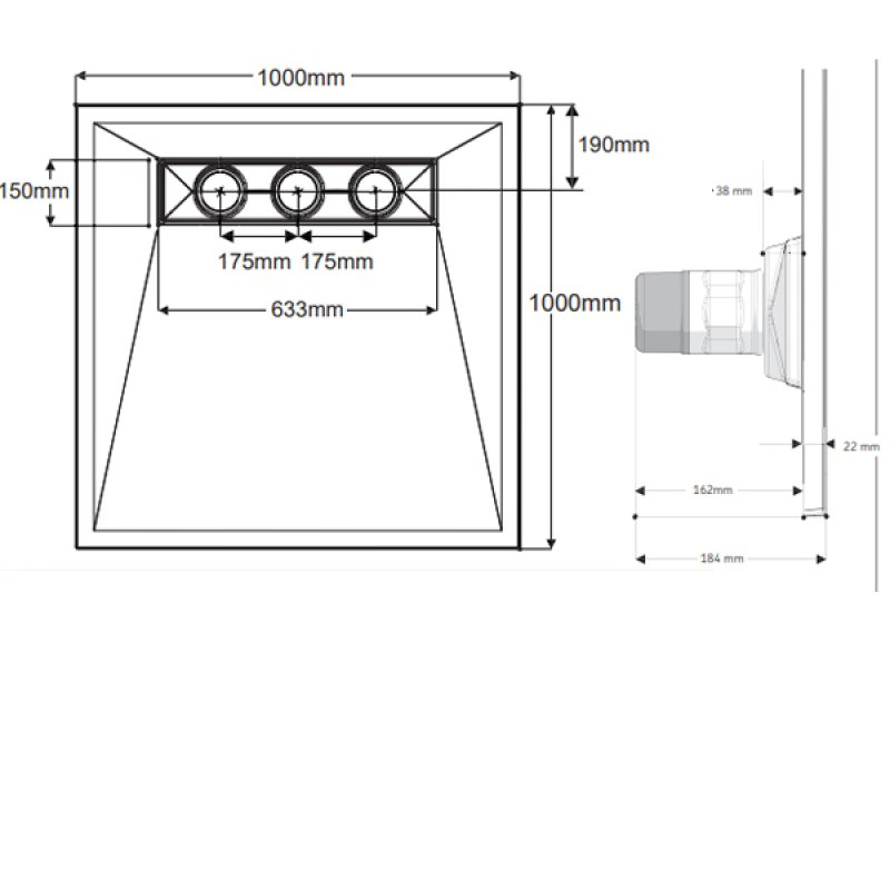 AKW TriForm Square Wet Room Former Drain and Waste - 1000mm x 1000mm