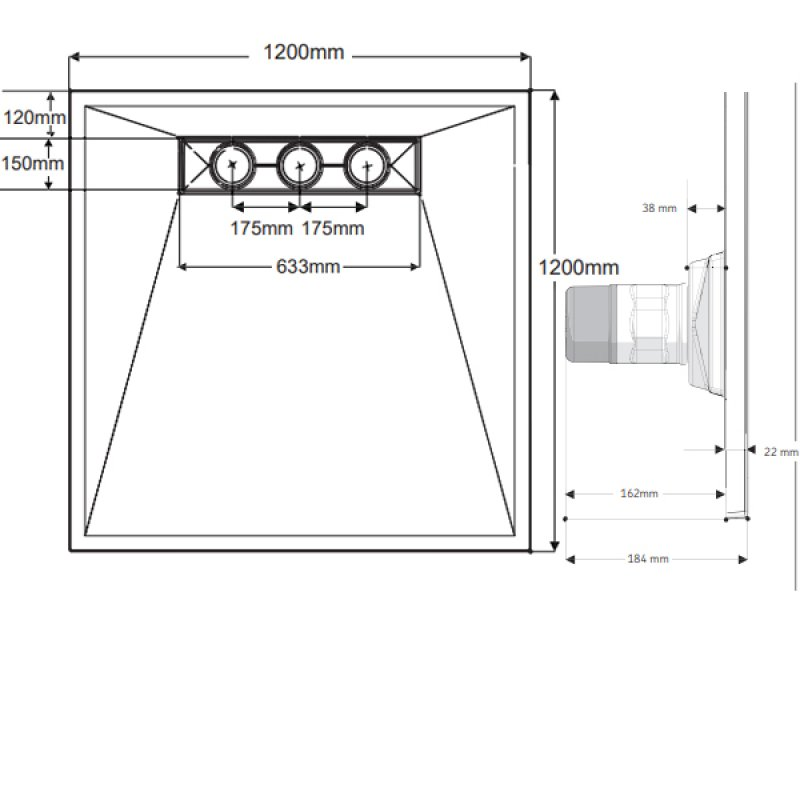 AKW TriForm Linear Wet Room Former, 1200mm x 1200mm, GRP Composition