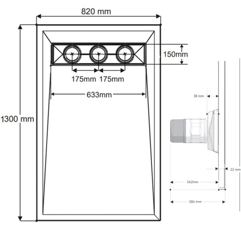 AKW TriForm Rectangle Wet Room Former Drain and Waste - 1300mm x 820mm