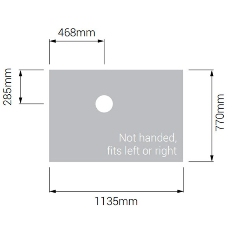 AKW Tuff Form Rectangular Wet Room Former with GW50 Vinyl Waste and Adaptor 1135mm x 770mm