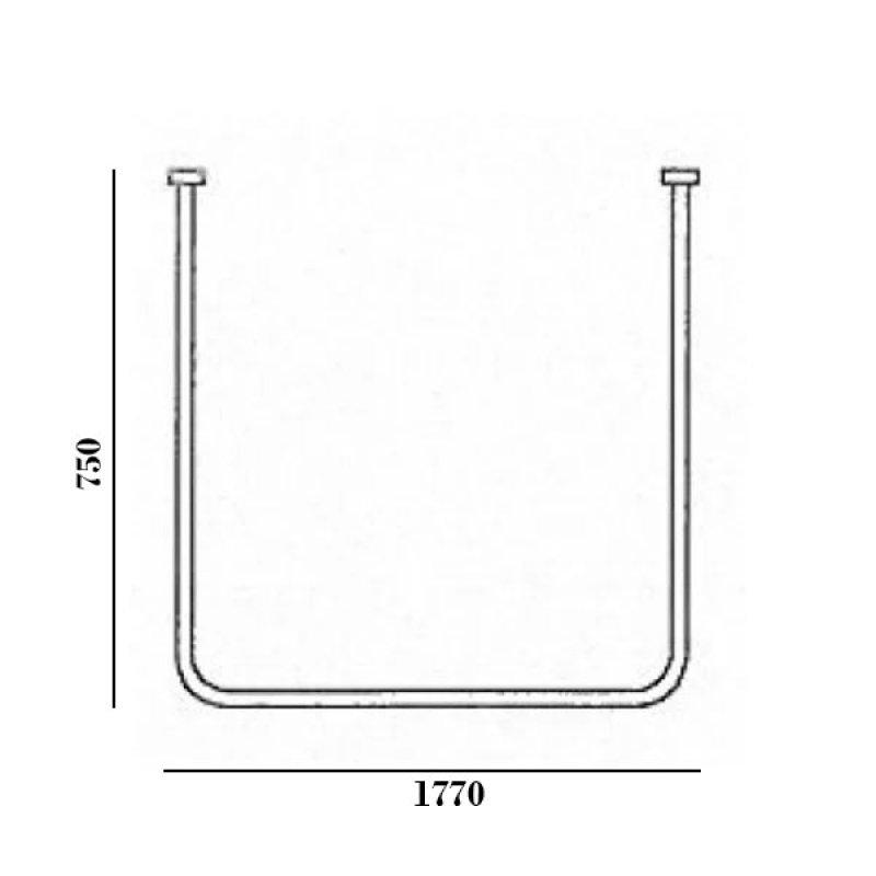 AKW U-Shaped Shower Curtain Rail 750mm x 1770mm x 750mm