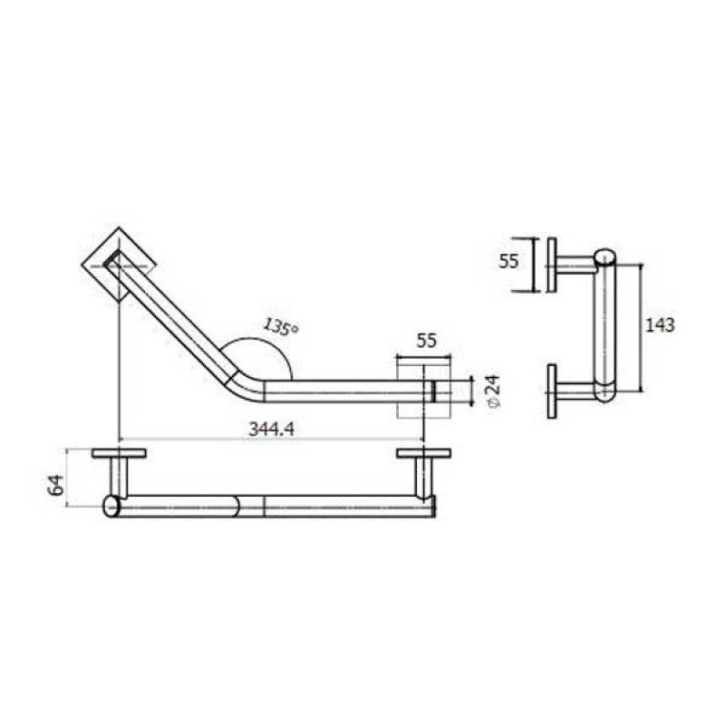 AKW Velena Abstract 135 Degree Angled Grab Rail, 344mm Length, Chrome