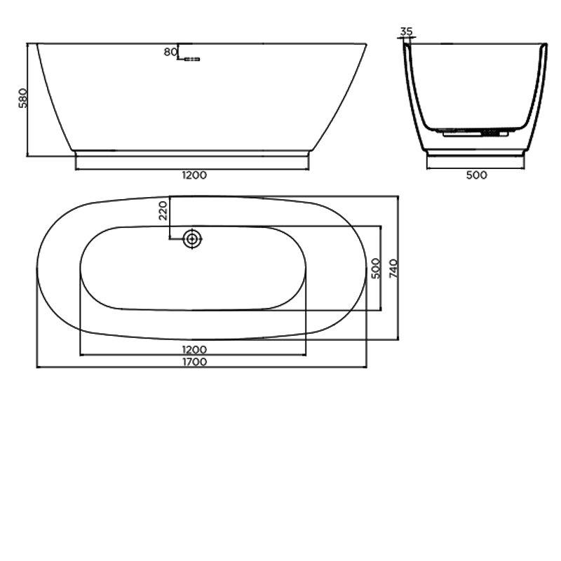 April Harrogate Contemporary Freestanding Bath 1700mm x 740mm Acrylic