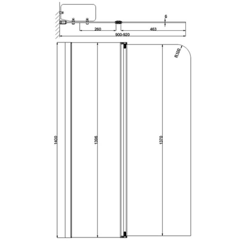 April Identiti2 Hinged Bath Screen with Fixed Panel 1400mm H x 900mm W - 6mm Glass