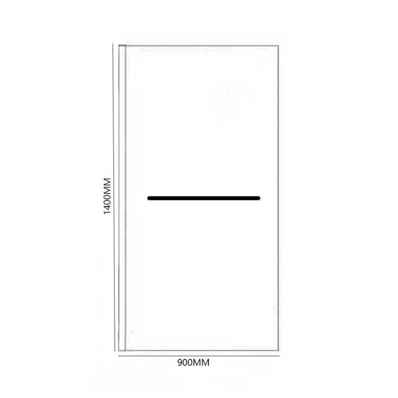 April Identiti2 Square Hinged Bath Screen with Fixed Panel and Towel Bar 1400mm H x 900mm W - 6mm Glass