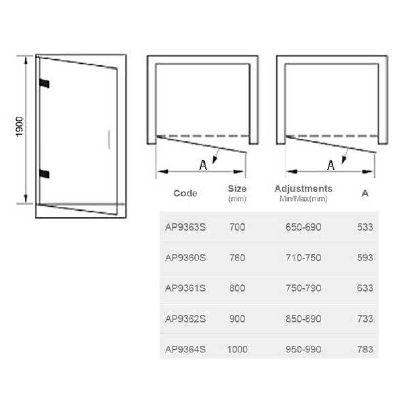 April Identiti2 Hinged Shower Door 760mm Wide - 8mm Glass
