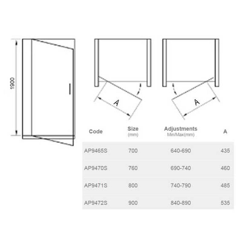 April Identiti2 Pivot Shower Door 800mm Wide - 8mm Glass