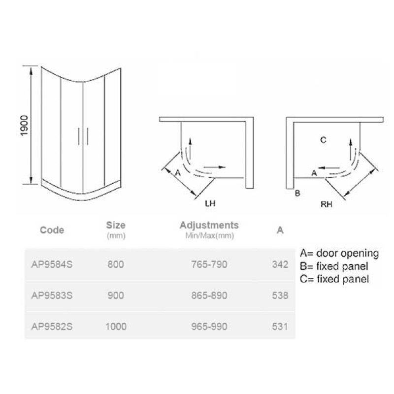 April Identiti2 Quadrant Shower Enclosure 800mm x 800mm - 8mm Glass