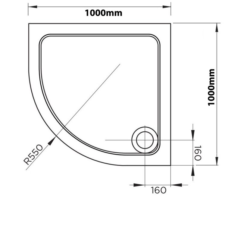 April Quadrant Shower Tray 1000mm x 1000mm - Stone Resin