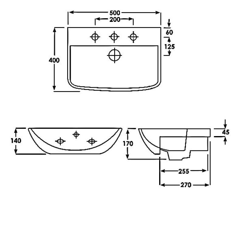 Duchy Jasmine Basin /& Semi Pedestal 500mm Wide 1 Tap Hole