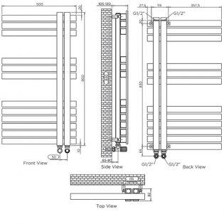 Aeon Combe Left Handed Designer Heated Towel Rail 920mm H x 500 W - Brushed Matt