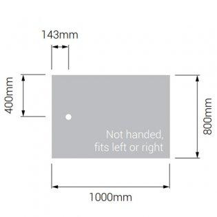 AKW Braddan Rectangular Shower Tray with Gravity Waste 1000mm x 800mm