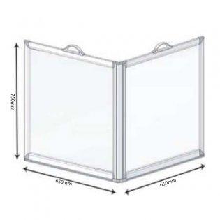 AKW Freeway 2 Panel Portable Shower Screen, 650mm x 650mm, 750mm High