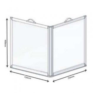 AKW Freeway 2 Panel Portable Shower Screen, 750mm x 750mm, 900mm High