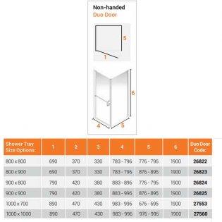 AKW Larenco Corner Full Height Duo Shower Door with Side Panel 1000mm x 1000mm