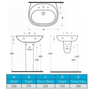 AKW Livenza 500mm Basin and Semi Pedestal - 1 Tap Hole