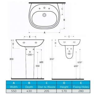 AKW Livenza 550mm Basin & Large Semi Pedestal - 2 Tap Hole